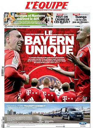 Team to beat: L'Equipe praise Bayern Munich saying how they are unique with Franck Ribery, Arjen Robben and Pep Guardiola the star men