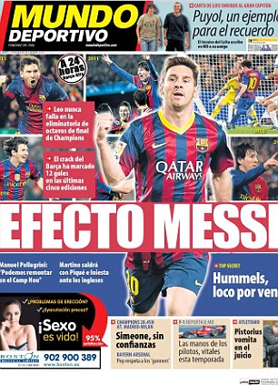 Champions League: However, Barcelona based paper Mundo Deportivo said Messi can be the difference against Manchester City
