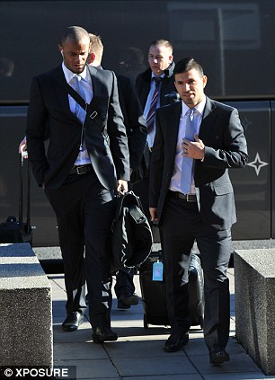 Key men: Skipper Vincent Kompany and striker Sergio Aguero both made the trip out