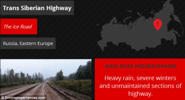 If a driver chose the Trans Siberian Highway, pictured, they could potentially face the rain and uneven surfaces in a sports car - but the company offering the holiday warned that they would have to drive slowly and a vehicle with chunkier tyres would offer a more comfortable ride