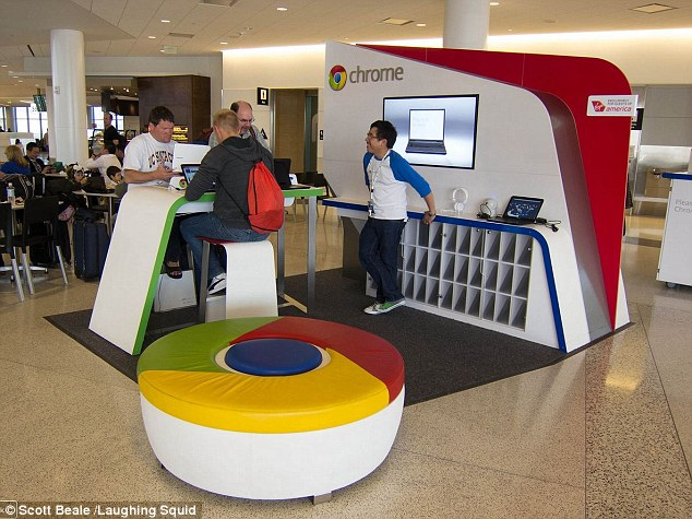 Test site: Google ran a limited test run of kiosks in five major U.S. airports, including this one at SFO