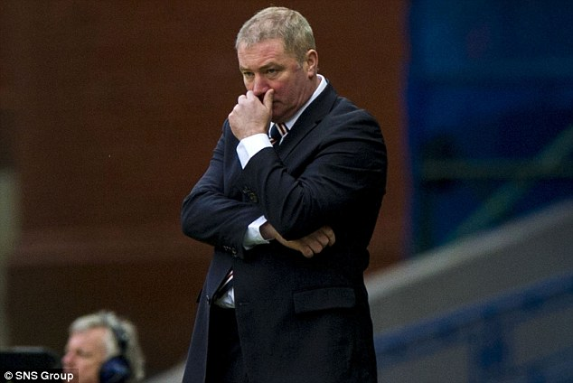 Plenty to ponder: McCoist watched his side fail to beat Albion Rovers in the quarter-final of the Scottish Cup