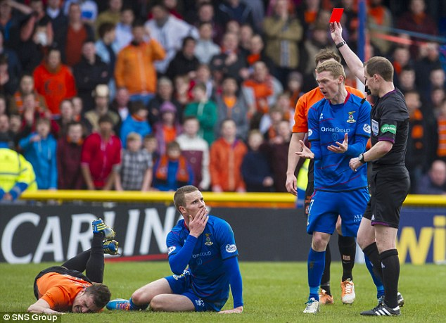 Reprieve: Inverness' Marley Watkins, second left, will serve his suspension for the red card he picked up against Dundee United in the Scottish Cup quarter-final and will be available to face Aberdeen