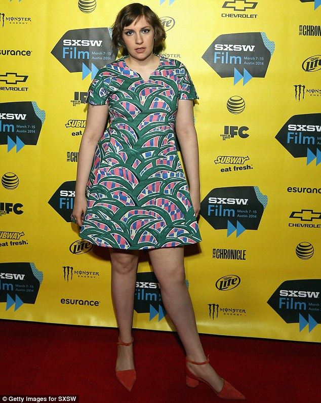 Keeping covered up: Lena wore a modest dress which would have concealed the cupping marks as she attended the SXSW Festival in Austin, Texas, on Monday