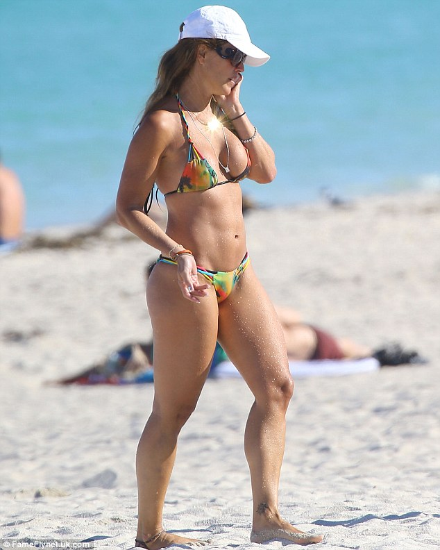 Hot! Cristy Rice showed off her toned body in a tiny tie-dye two piece as she hit the beach in Miami, Florida on Tuesday