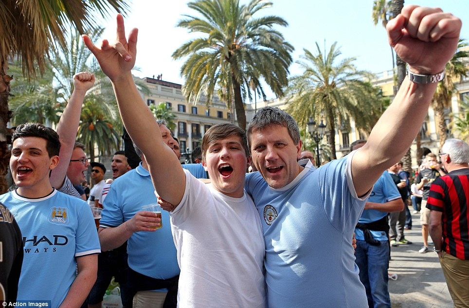 Say cheese! The City fans will pile into the imposing Nou Camp for the second leg of the round of 16 tie
