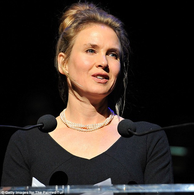 Natural beauty: Renée Zellweger's face looked just right when she spoke at the Painted Turtle Starry Evening Of Music event in San Francisco on Monday