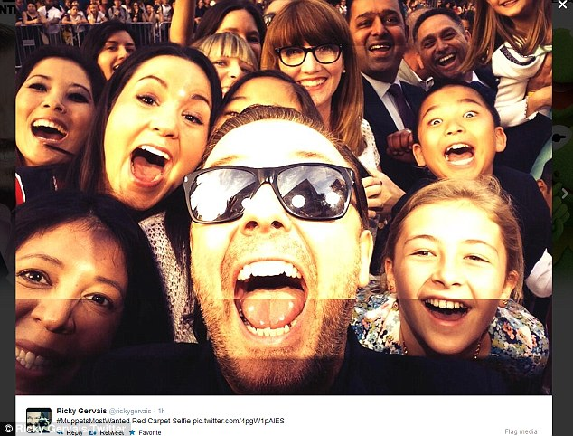 Snaptastic: The star selfied his way along the red carpet and tweeted images to his fans