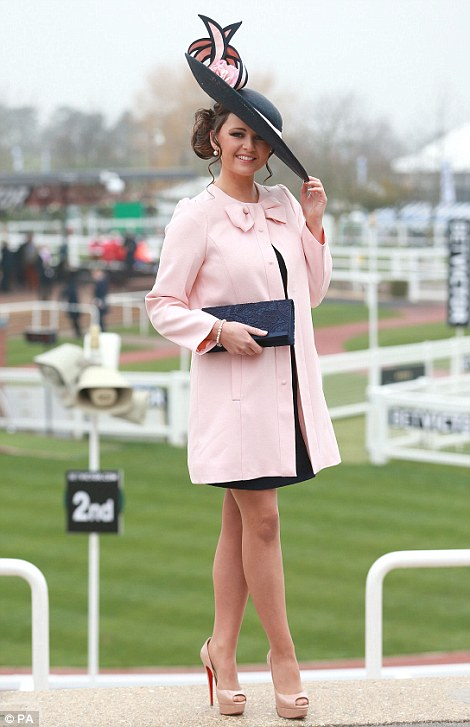 Jennifer Wrynne from Ireland poses for a photo during Ladies Day at Cheltenham Racecourse