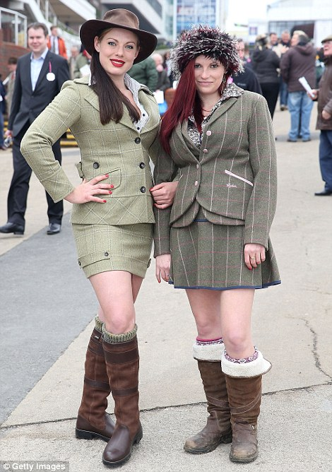 A pair of racegoers take an unusual approach to country chic