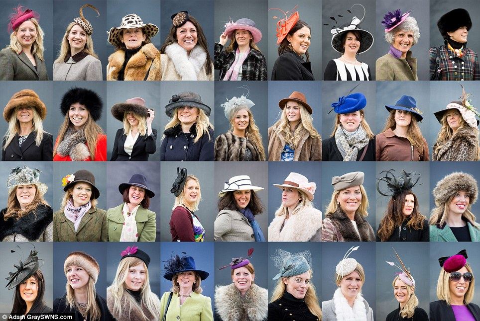 Top titfers: Glamorous hats were all over the racecourse at Cheltenham Festival today with everything from dainty pillboxes to pheasant feathered fascinators on display