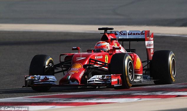 Comfort zone: Raikkonen drives during Formula One winter testing at the Bahrain International Circuit