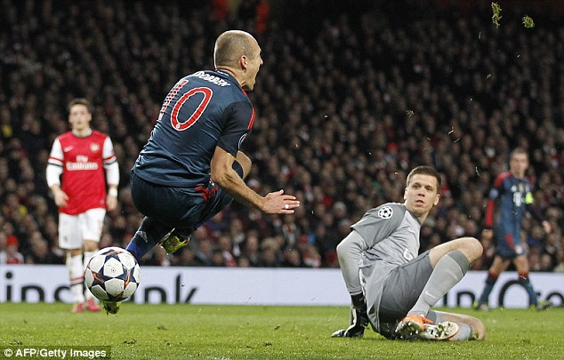 Spin: After the contract from Szczesny, Robben flew round 180 degrees before landing on the pitch