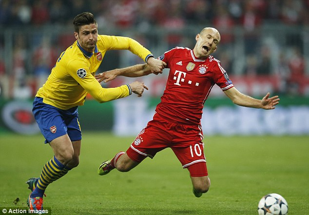 Ready for a fall: Robben goes down under pressure from Olivier Giroud during the second leg tie