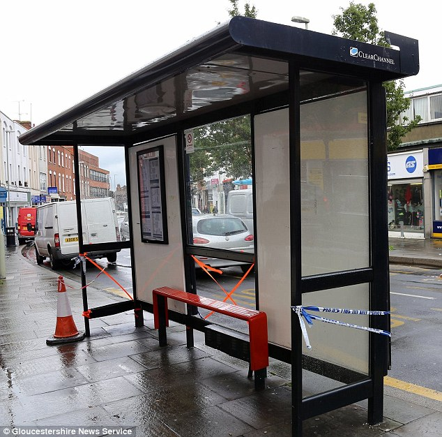 Scene: The bus shelter in Gloucester which was damaged when a van load of culled badgers crashed into it