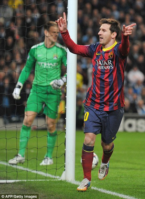 Uh oh: Lionel Messi put Barca 1-0 up from the spot