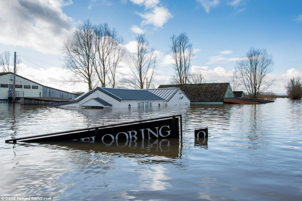 Underwater: When this photograph was taken earlier this year Mr Craddock's flooded business was only accessible by boat