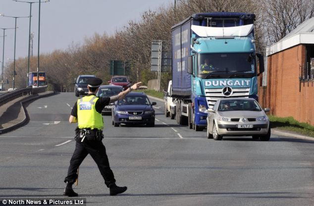 Standstill: Police closed a busy dual carriageway in the North-East last week to hunt for the man's penis