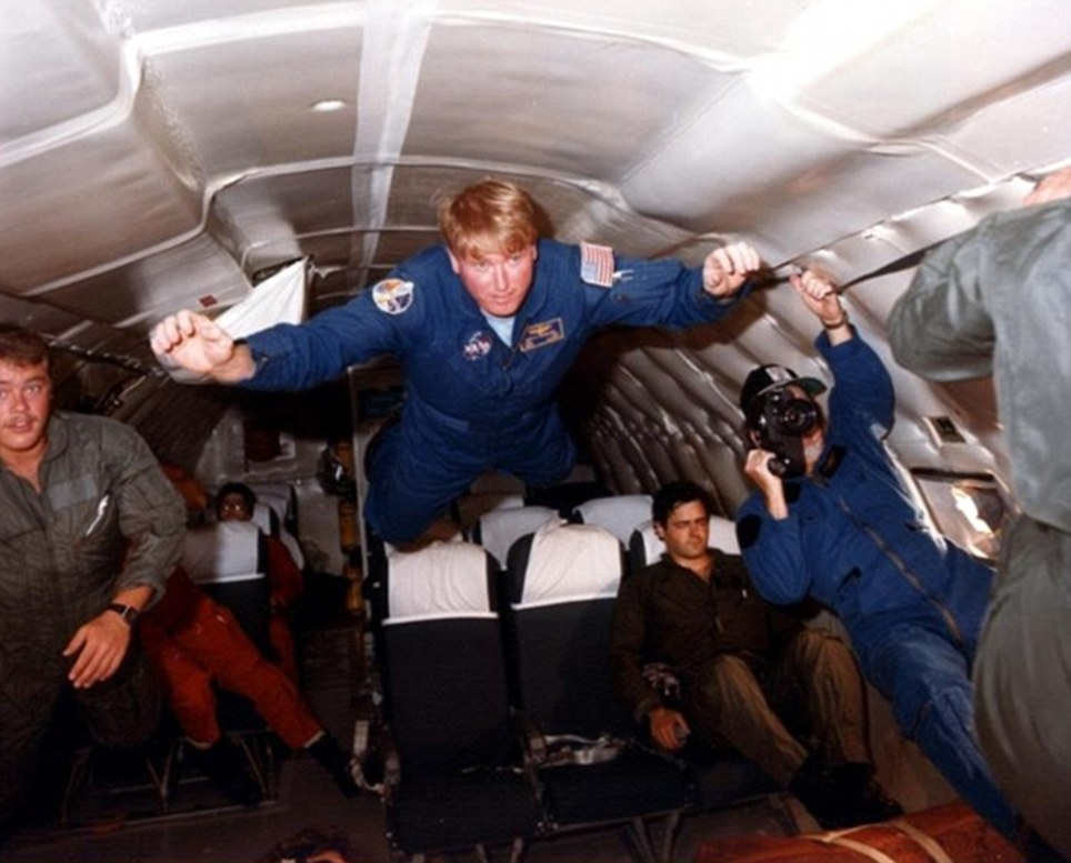 Just let go: Everyone who goes into space takes time to adjust to weightlessness, says Jon. 'You get taller, you get louder, your heart gets bigger, you lose all sense of balance'