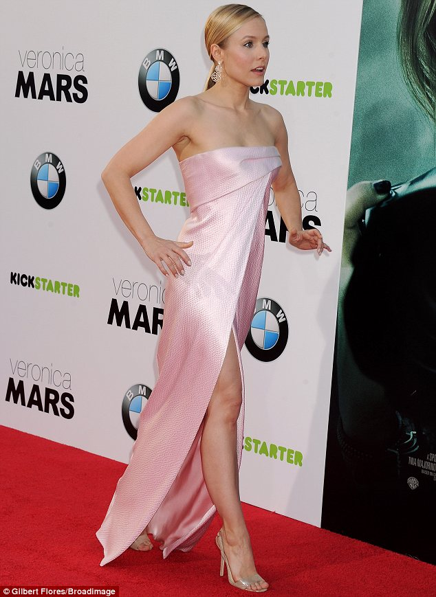Elegant: Kristen's strapless pink dress flattered her figure and managed to be sexy without being too revealing