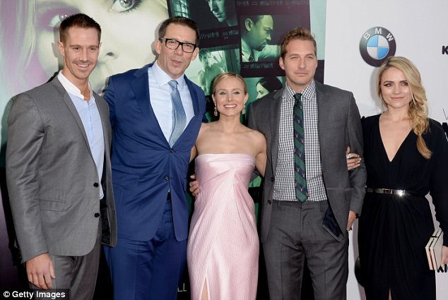 Back together again: Jason Dohring, Rob Thomas, Kristen, Ryan Hansen and Amanda Noret posed for pictures at the premiere on Thursday