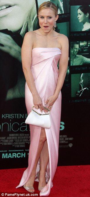 Wardrobe malfunction: Kristen Bell's pink dress billowed open to reveal her nude underwear at the LA premiere of Veronica Mars on Wednesday