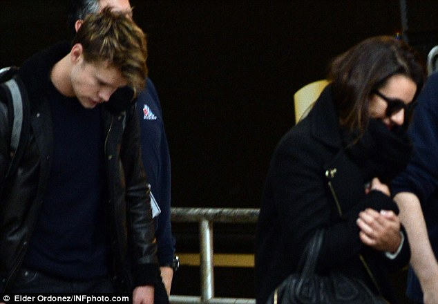 Glee stars: Lea Michele and co-star Chord Overstreet arrived on Wednesday at JFK International Airport in New York City