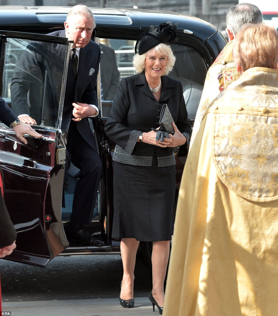 Arrival: The Royal couple were last to arrive at the service, which started at noon today