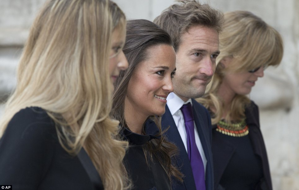 Smiles: Miss Middleton with Mr Fogle, his wife Marina and another friend as they arrived for the ceremony