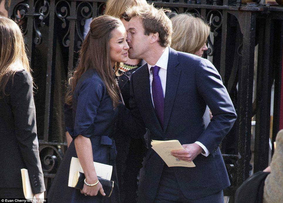 Greeting: Ben Fogle kisses Pippa Middleton on the cheek outside the Abbey