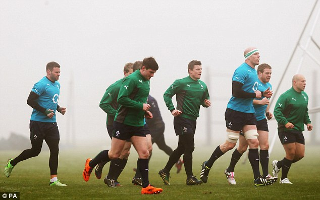 Farewell to a legend: Brian O'Driscoll (centre) in training with Ireland at Carton House in Dublin on Thursday