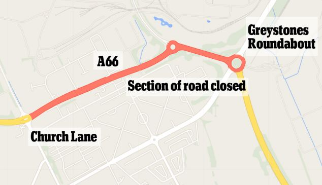 Road block: This stretch of the A66 near Middlesbrough was sealed off by police investigating the incident