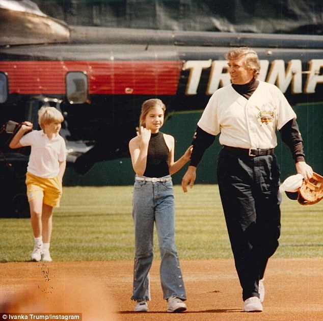 Fortunate upbringing: In March, she shared a photo of herself as a tween walking across a baseball field with her father Donald and brother Eric, the Trump Chopper perching casually in the background