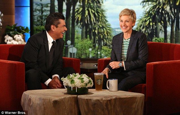 In stitches: Ellen found George's jokes amusing and so did the audience