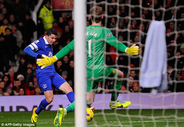 Hero: Oviedo scores Everton's winner against Manchester United at Old Trafford
