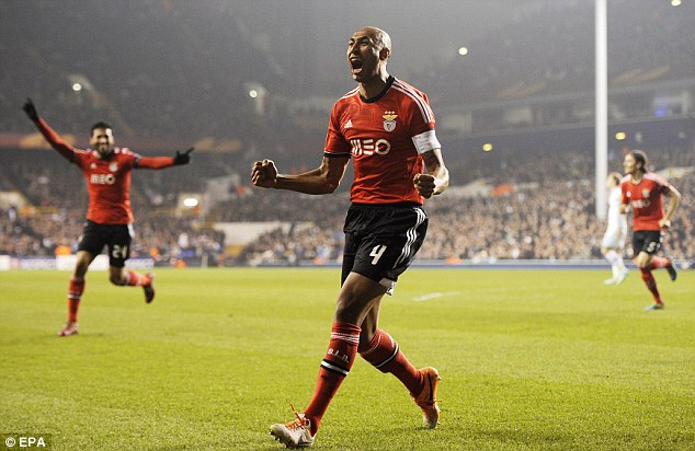 Double: Luisao scored twice to help Benfica to a 3-1 Europea League win against Tottenham at White Hart Lane