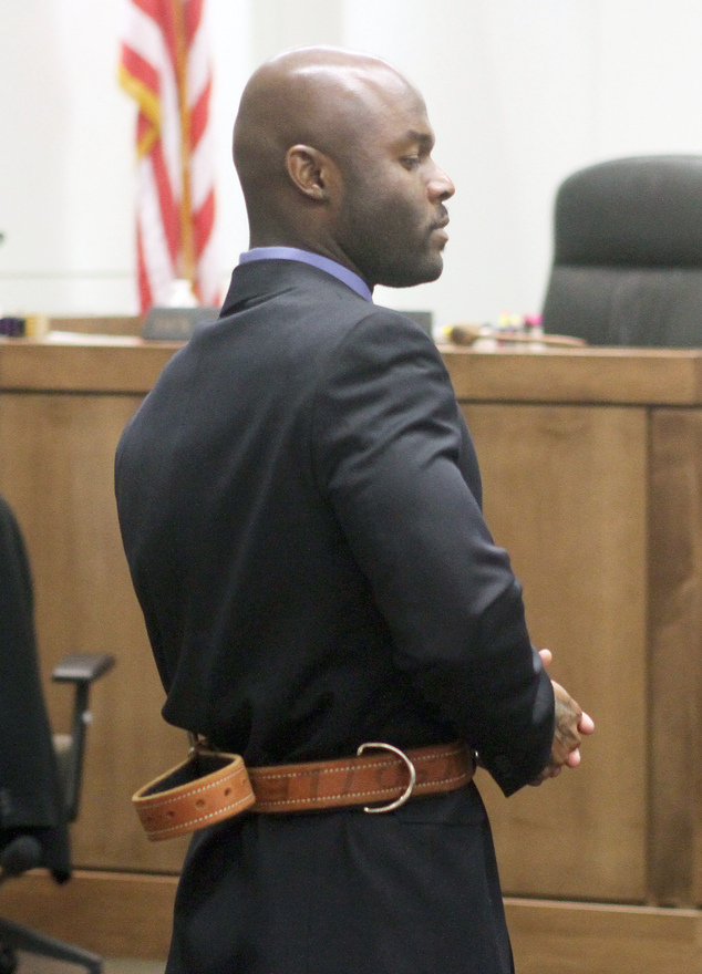 Arthur Morgan III stands in a court room in Freehold, N.J. on the first day of his trial for the murder of his daughter Tierra Morgan-Glover, Wednesday, March 12