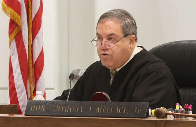 Judge Anthony J. Mellaci speaks on the bench during the first day of the Arthur E. Morgan III  trial for who is charged with the murder of his daughter Tierra Morgan-Glover