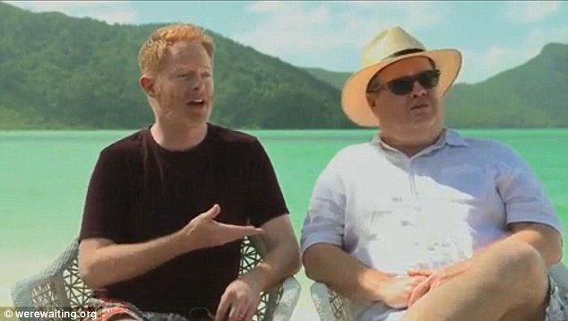 It's about love: Modern Family stars Jesse Tyler Ferguson and Eric Stonestreet who play gay coupe Mitch and Cam on the show, dip their toes into the Australian marriage equality debate.