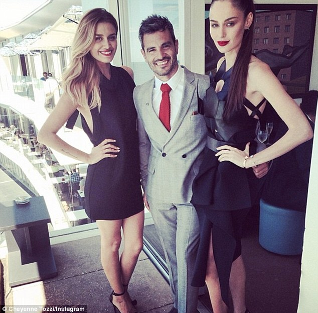 Model sandwich: The Perth star with Cheyenne Tozzi and the show's host Georges Antoni