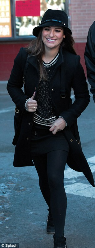 Winter style: Lea Michele sported a big comfy coat on Thursday in New Yorkl