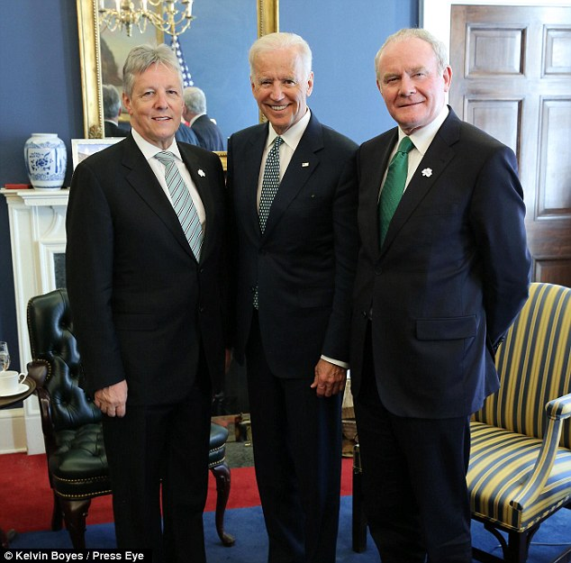 First Minister Peter Robinson, MLA and deputy First Minister Martin McGuinness MLA pictured with United States Vice President Joe Biden in the White House this afternoon