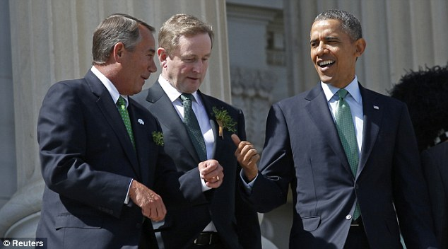 U.S. President Barack Obama, Speaker of the House John Boehner (L) and Irish Prime Minister Enda Kenny (C) talk after the annual Friends of Ireland luncheon at the Capitol in Washington