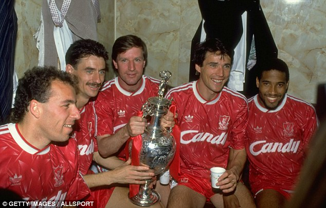 Silverware: Ronnie Rosenthal, Ian Rush, Ronnie Whelan, Alan Hansen and John Barnes with the First Division trophy in 1990