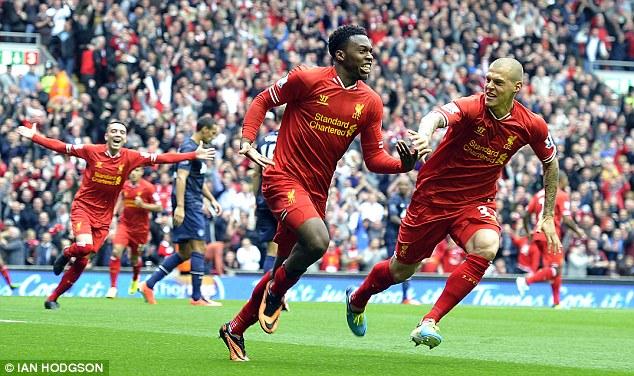 Winner, winner: Daniel Sturridge peels away to celebrate scoring the only goal against United in September