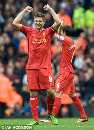 Liverpool's Steven Gerrard celebrates a win over Manchester United at Anfield