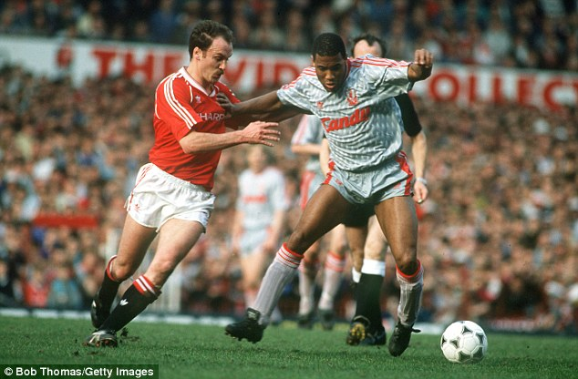 Back in the day: John Barnes (right) inspired Liverpool to a 2-1 win over United at Old Trafford in 1990