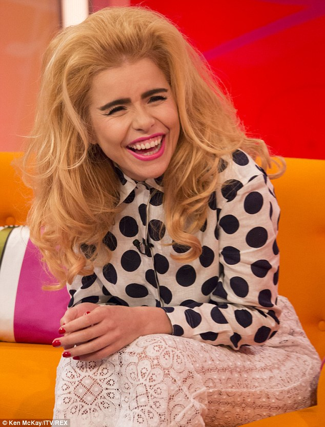 Happy girl: The star laughed and joked in her interview with Kate Garraway as she spoke about working with Pharrell