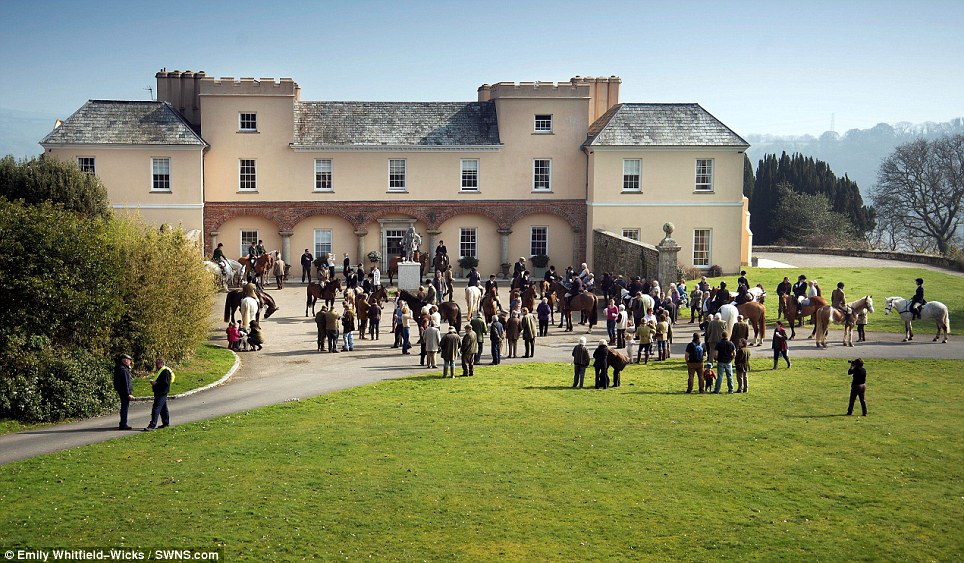 There was a good turn out for the East Cornwall Hunt's meet at Pentillie Castle, a 19th century estate overlooking the Tamar Valley in Cornwall