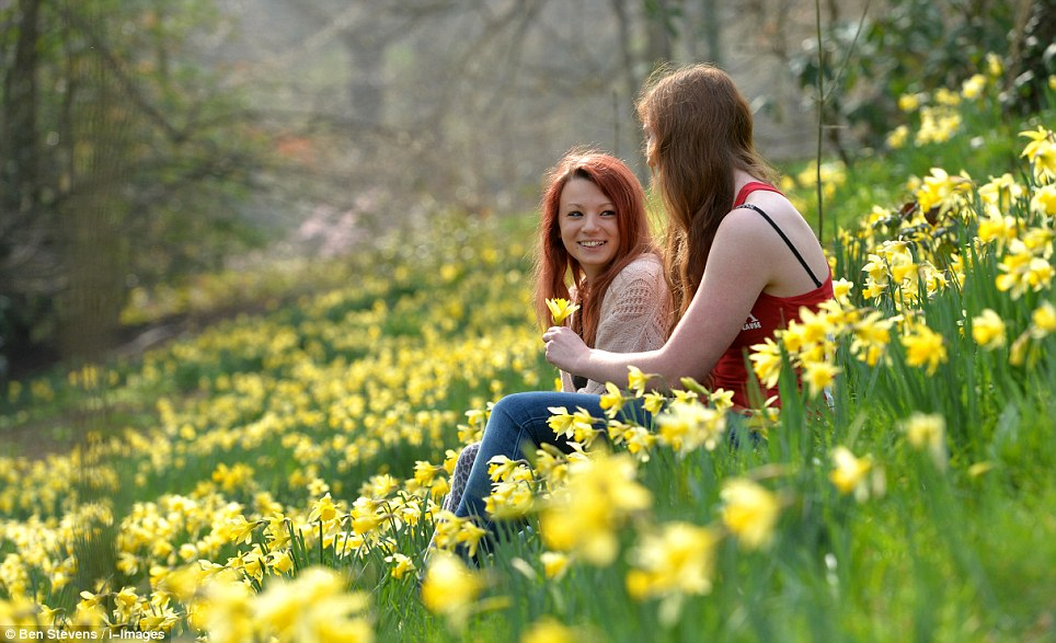 Students Georgina Thomas and Valerie Spell enjoyed the feeling on the sun on their skin as they sat among the spring flowers in Egham, Surrey, today
